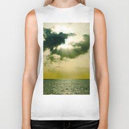 Green Sepia Monochromatic Ocean Clouds Photo Sun Shining Through Clouds Biker Tank