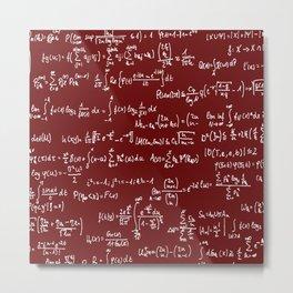 Math Equations // Maroon Metal Print