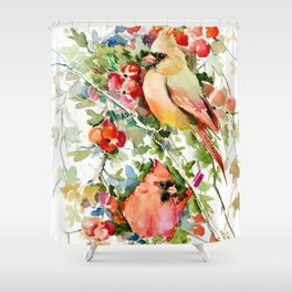 Cardinal Birds and Hawthorn, Cardinal Bird Christmas Design art floral bird decor Shower Curtain
