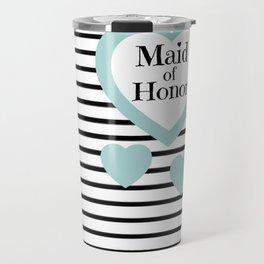 Maid of Honor Wedding Party - Blue Hearts Black Stripes Travel Mug