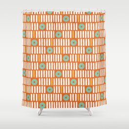 Geometrical abstract orange white turquoise stripes polka dots Shower Curtain