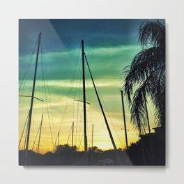 Sailboats at Sunset Metal Print