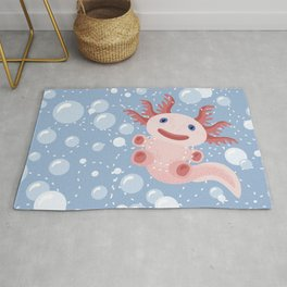 Cute Axolotl and The Bubbles Rug