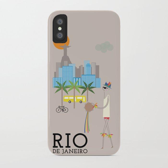 Rio - In the City - Retro Travel Poster Design iPhone Case