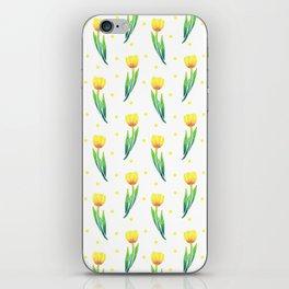 Modern yellow green watercolor tulips polka dots pattern iPhone Skin