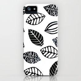 Linocut Leaves iPhone Case