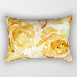 Sunny Day Painterly Floral Abstract Rectangular Pillow