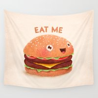hamburger Wall Tapestries featuring Burger by Lime