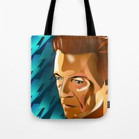 david bowie Tote Bags featuring Bowie  by Beth Gatza