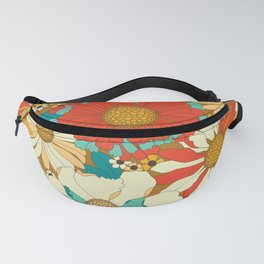 Red, Orange, Turquoise & Brown Retro Floral Pattern Fanny Pack