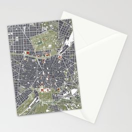 Madrid city map engraving Stationery Cards