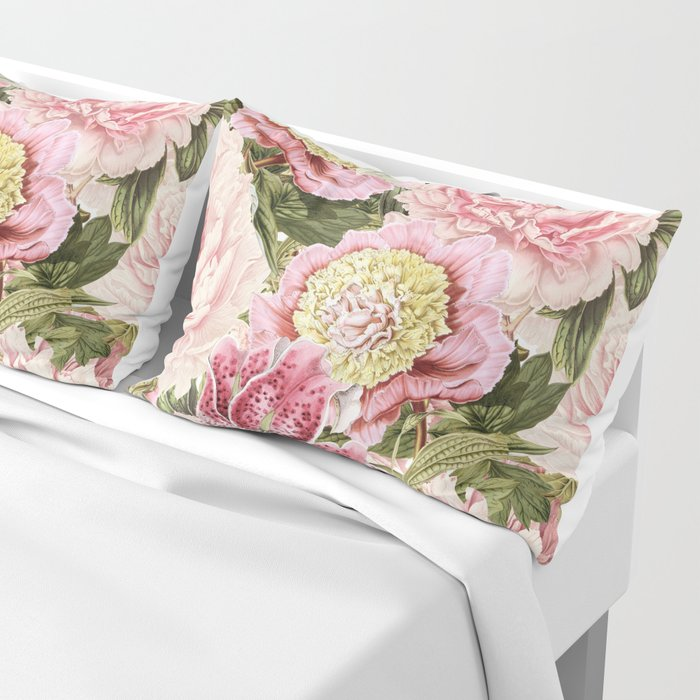 Vintage & Shabby Chic Floral Peony & Lily Flowers Watercolor Pattern Pillow Sham