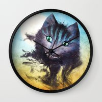 cheshire cat Wall Clocks featuring Cheshire Cat by Diogo Verissimo