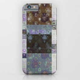 Lotus flower coffee brown and lavender blue stitched patchwork - woodblock print style pattern iPhone Case