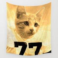 alex turner Wall Tapestries featuring Kitten as Alex Karras by Luigi Tarini