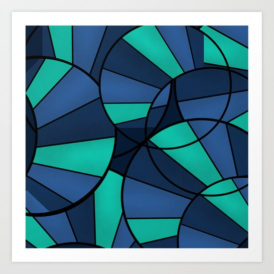 With blue turquoise and black abstract pattern . Art Print