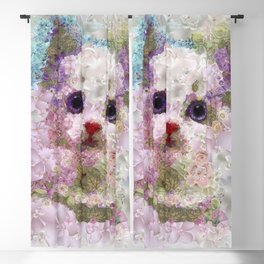 White kitten hiding in the flower garden. DISCOVER Blackout Curtain