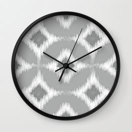 Elegant White Gray Retro Circles Squares Ikat Pattern Wall Clock