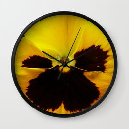 Golden Black Eyed Pansy Violet Yellow Flower Wall Clock