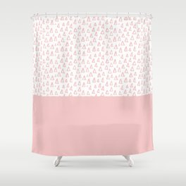 Triangles Pink Shower Curtain