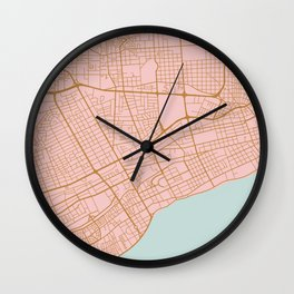 Pink Santo Domingo map Wall Clock