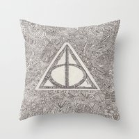 deathly hallows Throw Pillows featuring deathly hallows by Clara Lucie P
