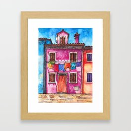 Burano laundry ink and watercolor illustration Framed Art Print