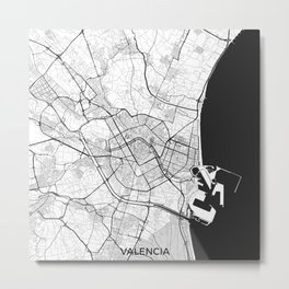 Valencia Map Gray Metal Print