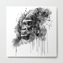 Powerful Gorilla Black and White Metal Print