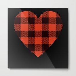 Checkered Heart Love Valentine's Day Gift Metal Print