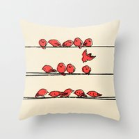 cartoon Throw Pillows featuring Hanging Out by Eric Fan