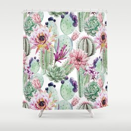 Watercolor Cacti, Opuntia, Colorful, Desert, Tropic Shower Curtain
