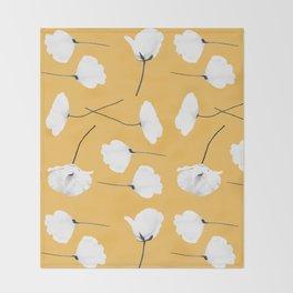 Poppies on mustard Throw Blanket