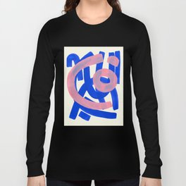 Tribal Pink Blue Fun Colorful Mid Century Modern Abstract Painting Shapes Pattern Long Sleeve T-shirt