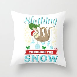 Cute Slothing Through the Snow Christmas Sloth Throw Pillow