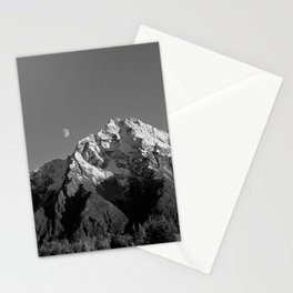 Moon Over Pioneer Peak B&W Stationery Cards