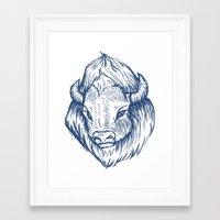 buffalo Framed Art Prints featuring Buffalo by Jess Moore