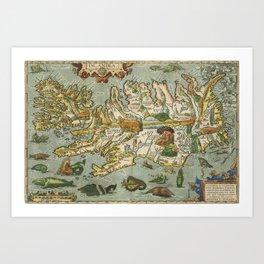 Iceland Map 1590 Art Print