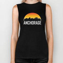 Sunset Skyline of Anchorage AK Biker Tank