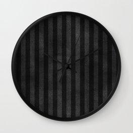 Black & Gray Velvet Stripe Pattern Wall Clock