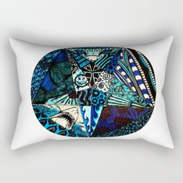 Blue Toned Pentagram Rectangular Pillow