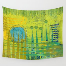Blue Green Abstract Art Collage Wall Tapestry