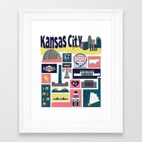kansas city Framed Art Prints featuring Kansas City by cwassmer