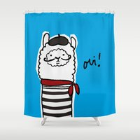 alpaca Shower Curtains featuring French Alpaca by Low Star Studio
