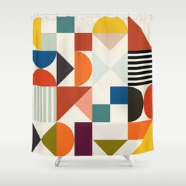 mid century retro shapes geometric Shower Curtain