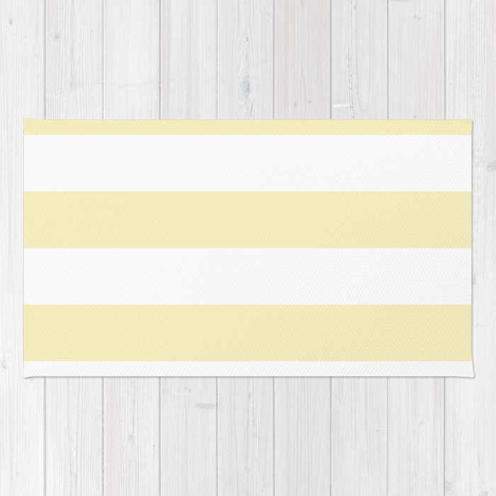 Horizontal Stripes - White and Blond Yellow Rug