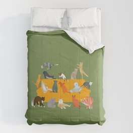 Cute cats on the yellow sofa Comforters