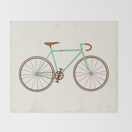 Green Fixie Throw Blanket