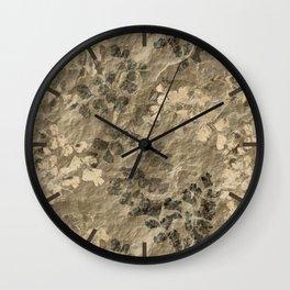 Slate Fern Fossils Pattern - Tan Wall Clock
