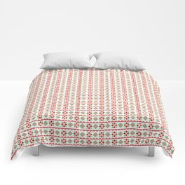 Red And Green Snowflake Christmas Pattern Comforters